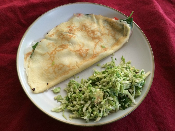 Roasted Red Pepper, Spinach and Asiago Crepe