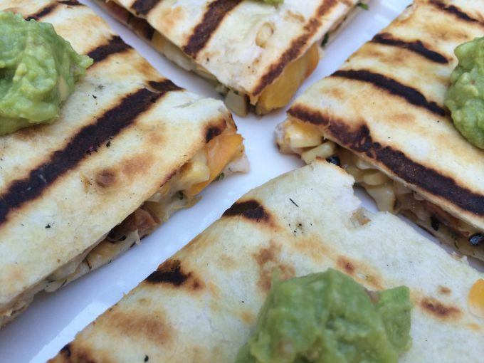 Grilled Corn and Peach Quesadillas