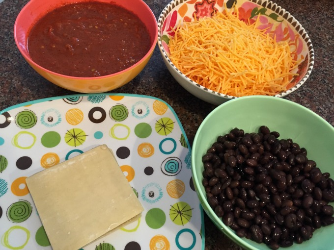 Sauce, Cheese, Beans and Wrappers