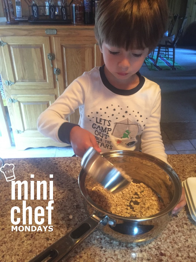 Adding Oats to Pan